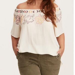 FLORAL EMBROIDERED GAUZE BLOUSE